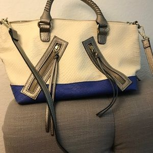 Small faux snake skin white and blue purse